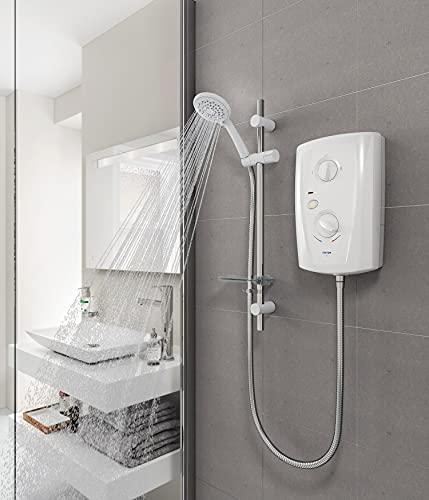 Triton T80 Pro Fit Electric Shower 7.5kW White & Chrome 5 Spray Modern SP8007PF