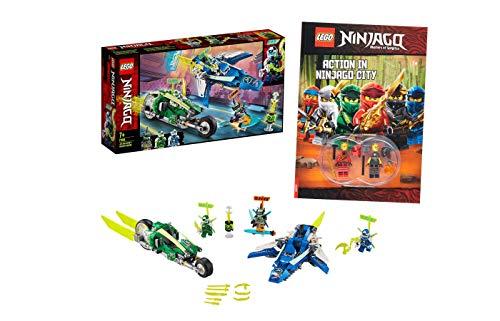 Collectix Lego Ninjago 71709 Jay y Lloyds Power-Flitzer con aviones y ciclistas (71709) + Action en Ninjago City (libro de bolsillo)