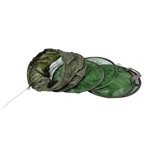 LIOOBO Fischernetz Faltbar Setzkescher Mesch Köderfischreuse Fischköder Falle Angelzubehör 1.4m (Grün)