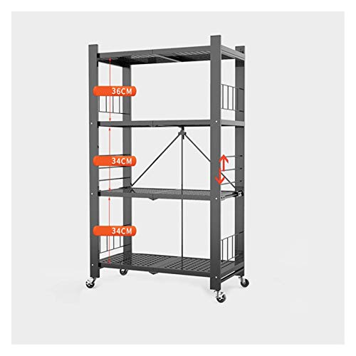 QAQA Shelving Units Storage, Kitchen Shelves, Metal Shelving, Standing Shelf Units for Kitchen Garage Home Bedroom Bathroom (Color : Black, Size : 72×37×121cm)