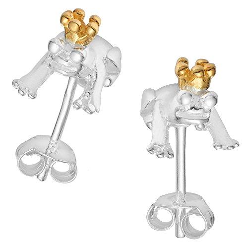 Vinani Ohrstecker Frosch mit Krone vergoldet mit Zirkonia champagner Sterling Silber 925 Ohrringe König 2OFG