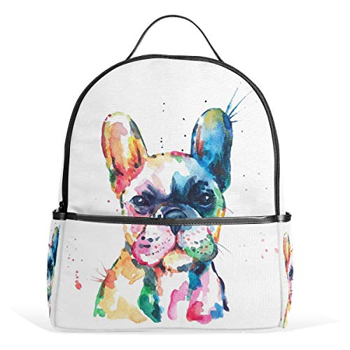 French Bulldog Puppy Backpack Bookbags Daypack Kids Girls Boys Funny Animal Backpacks Laptop Bags School Purse Travel Sports Water Resistant Men Women