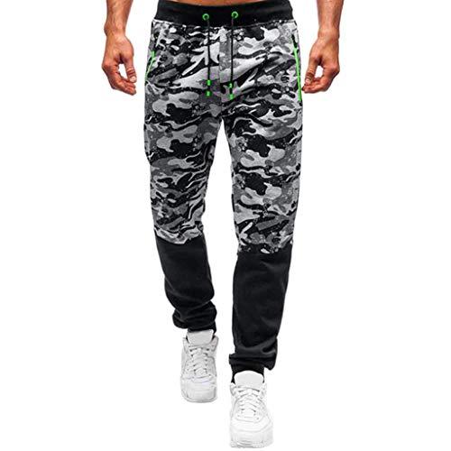 TTOOHHH Men Zipper Camouflage Overalls Casual Pocket Sport Work Casual Trouser Pants Sweatpants