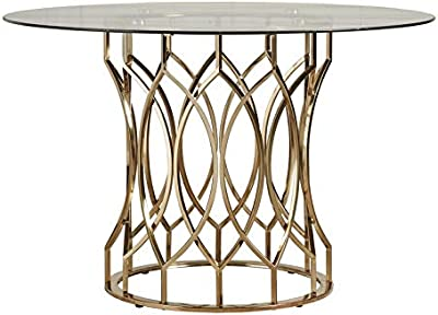 Metal Geometric Base Dining Table - Dining Table with Round Glass Top - Antique Gold