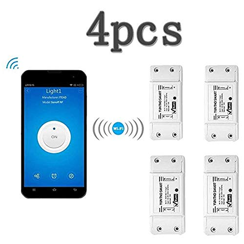 KOBWA Smart Switch - Mando a Distancia inalámbrico con WiFi multifunción para el hogar, Compatible con Alexa Echo Geogle Home Via iPhone Android App (4 Pack)