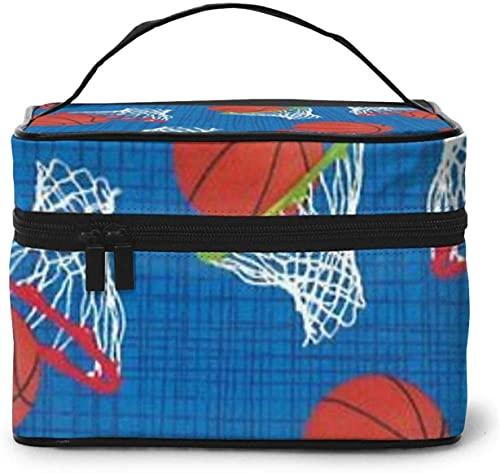 Cesta de baloncesto (1) diseño grande bolsa de maquillaje para mujer, portátil, organizador de viaje con cremallera de malla cepillo de bolsillo con asa chica