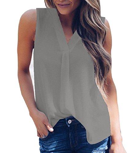 Dressuwomen Tank Plus – mouwlengte van chiffon smal kleur pure tuniek overhemden dames