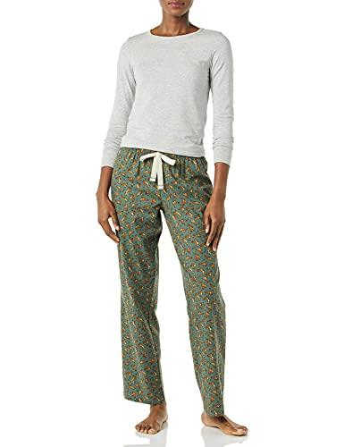 Amazon Essentials Conjunto de Pijama de Franela Ligera y Camiseta de Punto de Manga Larga, Ardillas Verdes, M