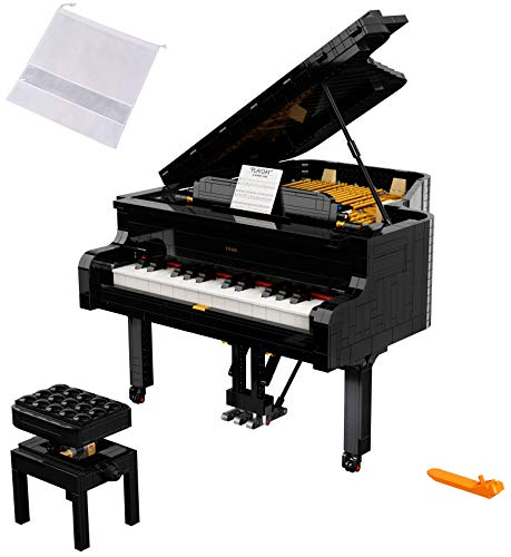 LEGO Ideas Grand Piano 21323 Model Building Kit, Build Your Own Playable Grand Piano (3,662 Pieces), an DIY Project for The Pianist, Musician, Music-Lover or Hobbyist - BROAGE Drawstring Medium Bag