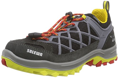 SALEWA JR WILDFIRE WATERPROOF, Unisex-Kinder Trekking- & Wanderhalbschuhe, Schwarz (Carbon/Flame), 31 EU (12.5 Kinder UK)