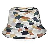 Yoliveya Sombrero de Pesca,Vector terrazo de Patrones sin Fisuras sin Fin Resumen,Senderismo para Hombres y Mujeres al Aire Libre Sombrero de Cubo Sombrero para el Sol