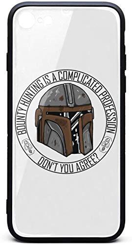 Funda para iPhone 6/iPhone 6S Mandalorian-Casco, Show-Sticker- Unisex Cool Vidrio Templado Negro Anti-Arañazos TPU Goma Bumper Accesorios Cubierta Trasera