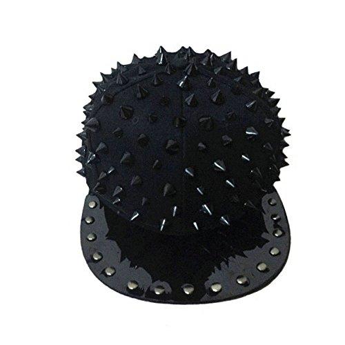 MAYBAO Gorra plana de béisbol con tachuelas de remache Snapback Spike Spiky Stud, MDM-2, negro, Talla única (Varios)