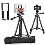 PEYOU Compatible for iPad iPhone Tripod, 55' Lightweight Aluminum Phone Camera Tablet Tripod + Wireless Remote + Universal 2 in 1 Mount Holder for Smartphone,Tablet (Black)