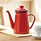 YUNLAN 1,1L Pot de café de Esmalte de Alto Grado Vierta sobre la Jarra de Jarra de Agua de la Leche Barista Tetera de la Tetera de la Estufa de Gas y Cocina de inducción cafetera (Color : Red)