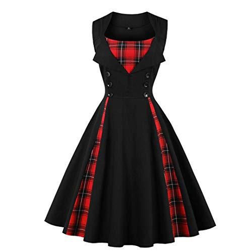 Vestido de Mujer con diseño Retro de Swing Vintage Rojo Negro a Cuadros Vestidos Elegantes Vestido...