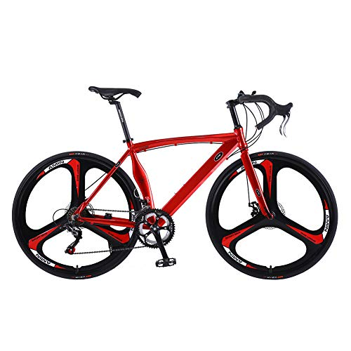 U`King Road Bikes Wheels 700c Aluminum Road Bicycle,Shimano 14 Speed 3 Spokes Alloy Disc Brakes Road Bikes for Men and Women (Alloy Red)