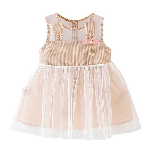 Janly Clearance - Vestido para niñas de 0 a 10 años, diseño de tartán con orejas de tul impresas, color rosa