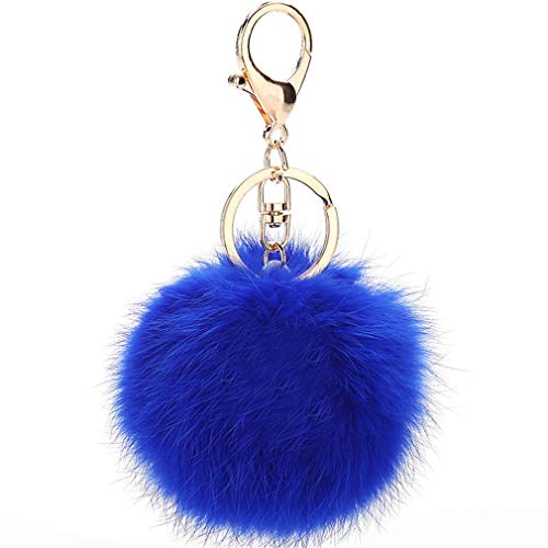 Schlüsselanhänger plüsch Ball Keychain Elegant Plüsch-Kugel Auto-Anhänger Taschenanhänger bommel Pompom Weich Schlüsselring Handtaschenanhänger Dekor (Tief Blau)
