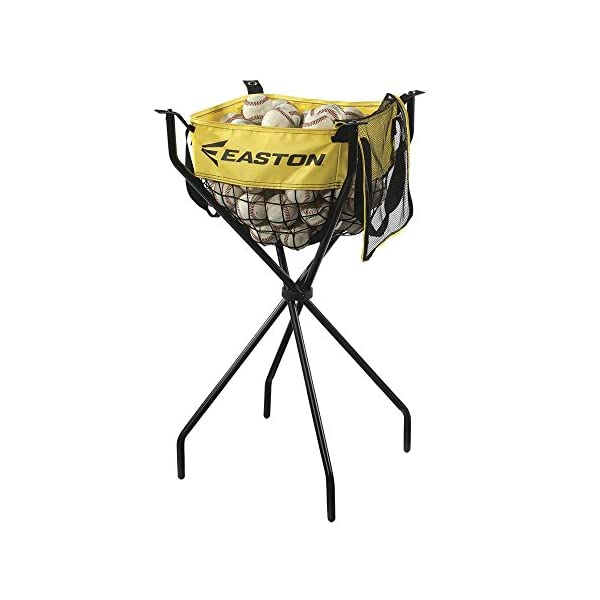 EASTON PROFESSIONAL Ball Caddy   2021   Pro Design Offers Heavy Duty Stand For Batting Practice   Holds 100+ Baseballs Or 50+ Softballs   Tarpaulin + Mesh Ball Bag + Zippered Cover