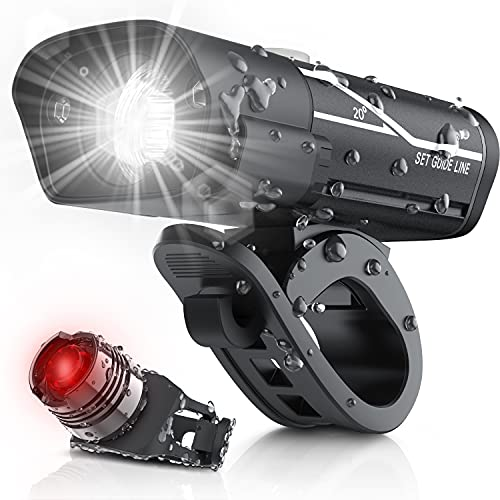 [Updated 2021 Version] USB Rechargeable Super Bike Headlight and Back Light Set, Runtime 10+ Hours 600 Lumen Bright Front Lights Tail Rear LED, 5 Light Mode Options Fits All Bicycles, Road, Mountain