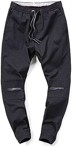 Hommes Hommes Occasionnel Occasionnel de Pantalons, Pantalons, à la Mode des Trous de brisé, Timbres, Les Pantalons,noir,Trente - Quatre