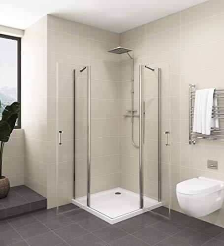 Duschkabine 80x80,Eckeinstieg Schwingtür Duschtür Dusche Falttür Duschwand Duschabtrennung 6mm ESG Sicherheitsglas Nano-Beschichtung Mit Stabilisator 185cm
