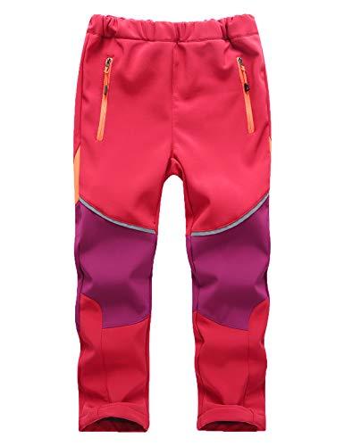 Echinodon Kinder Softshellhose Gefüttert Hose Wasserabweisend Winddicht Atmungsaktiv Jungen Mädchen Outdoor Wandern Freizeit Hose Herbst Winter Rot/Violett