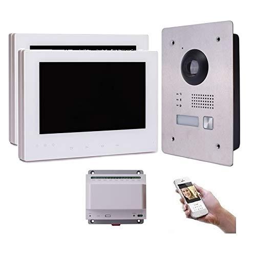 2 Draht IP Video Türsprechanlage Gegensprechanlage 7'' Monitor Weiß Kamera 170° HD mit oder ohne Überwachungskamera, Farbe: 2x7'' Monitor