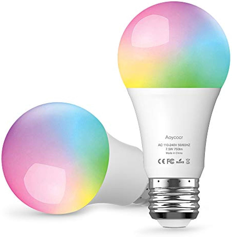 Smart WLAN LED Lampe E27 Wifi Glühbirne, Aoycocr Alexa Glühbirnen Mehrfarbige Dimmbare Lampe, 750 Lumen, 6500 Kelvin, Wifi Bulb Kompatibel mit Alexa Google Home IFTTT, 7.5W, APP Fernbedienung 2pc