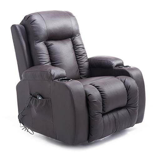 HOMCOM Luxury Heated Vibrating Recliner Chair PU Leather Single Theater Reclining Sofa 360° Swivel with Massage Function, Drink Holder and Remote for Living Room - Dark Brown