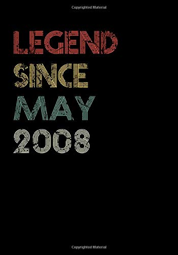 Legend Since May 2008 Guitar Tab Notebook: Unique Birthday Present Ideas for 12 Years Old (7x10 inches - 110 Pages): 6 String Guitar Chord and ... and Students (Guitar Manuscript Books)