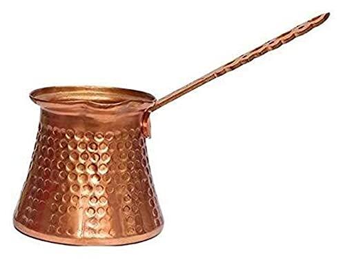 Kawowa Drewniana Rękojeść Turk Turkish Coffee Pot 320ml Kawa Turk Turecki miedziany ekspres do kawy (Color : Brass, Size : 11.8x8x7.3cm)