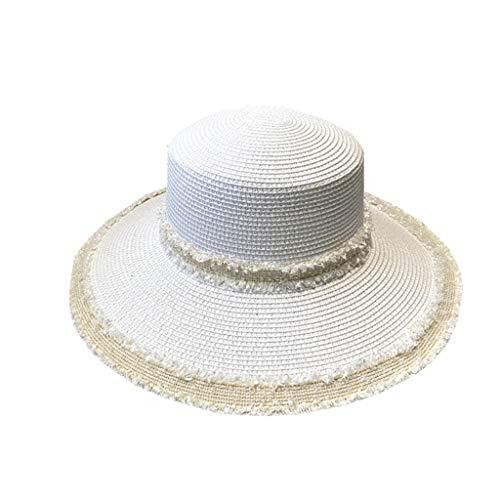 DYXYH Sonnenschutz Strohhut Breitrand Strohhüte Sommer Sonnenhüte Für Frauen mit Freizeitstrand Hüte (Color : A)