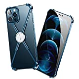 OATSBASF Bumper Case for iPhone 12 Pro Max 6.7 inch, Aluminum Metal X-Frame Support Bumpers Compatible with iPhone 12 Pro Max (Blue)