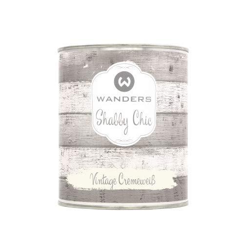 Wanders24® Shabby Chic (750 ml, Vintage Cremeweiß) Kreidefarbe für Shabby Chic - chalk paint - Vintage Farbe - Farbe für Holz - Made in Germany