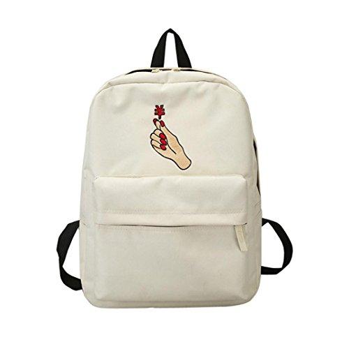 Hansee® Mädchen Leinwand Einfarbig Rucksack,Hansee Fashion Preppy Hand Stickerei Schule Taschen Campus Canvas Student Rucksack (weiß)