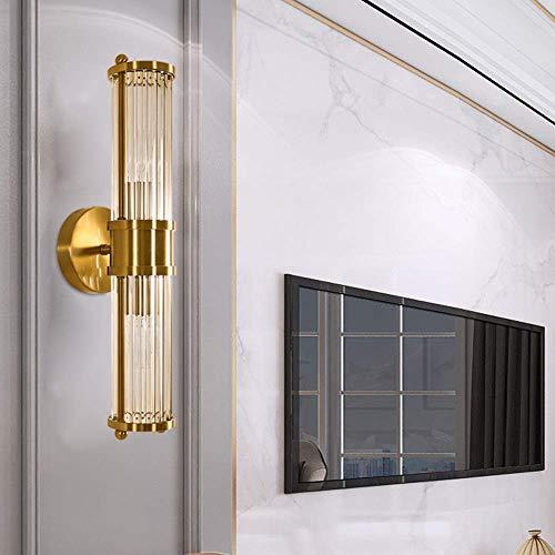 CHOUCHOU Apliques Pared Lámpara de la Pared del Oro Estadounidense lámpara de Pared cristalina Moderna Espejo de baño Faro de la Sala Simples Habitación Caliente 12x46cm de Noche lámpara de Pared