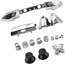 WPS Chrome Color ABXY Dpad Triggers Full Buttons Set Mod Kits for Newest Xbox One Slim/Xbox one S Controller with Screwdriver (Torx T6 T8) Set (Chrome Silver) for 1807 Version