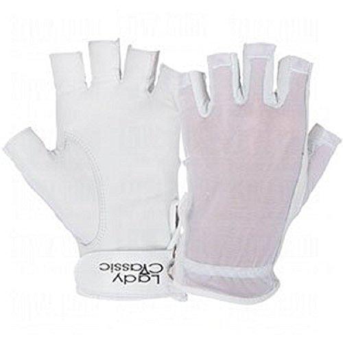 Lady Classic Solar Half Finger Golf Glove White Worn on Right Hand
