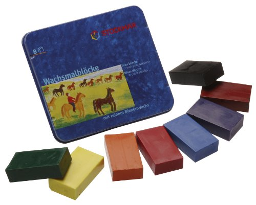 Stockmar 204884258 Waterproof Beeswax Blocks in Tin, 8 Blocks