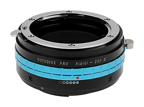 Fotodiox Pro Lens Mount Adapter with Aperture Dial - Nikon G (G and D Type) DSLR Lens to Canon EF-M Camera Body Adapter, fits EOS M Digital Mirrorless Camera