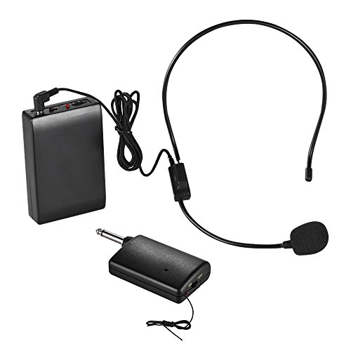 Honeytecs FM Wireless Microphone Headset System Voice Amplifier 1/4in Output Plug with Bodypack Transmitter Receiver for Teacher Speaker Yoga Instructor Presenter Lecturer Conference Speech Promotion