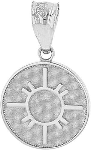 Collar con Colgante Sólido 14 Quilates Oro Blanco Nativo Americano Geométrico Símbolo del Sol Disco Delicado Medallón Colgante YUAHJIGE
