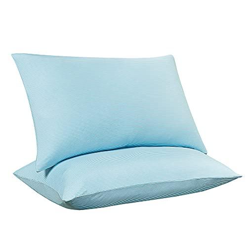 Luxear 2 Piezas Funda de Enfriamiento Para Almohadas, Súper Suave, Ligera y Transpirable Con Elasticidad,de Fibra Fría Arc-Chill Q-Max>0.5 de Japón. Con Diseño de Cremallera Oculta,40 X 80cm,Azul