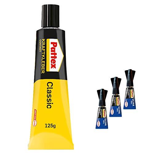 Pattex Kraftkleber Classic, extrem starker Kleber für höchste Festigkeit, Alleskleber für den universellen Einsatz, Spar-Set mit 1x 125 und 3x 1g Sekundenkleber Pattex Ultra Gel, 9HPCL4CP1X