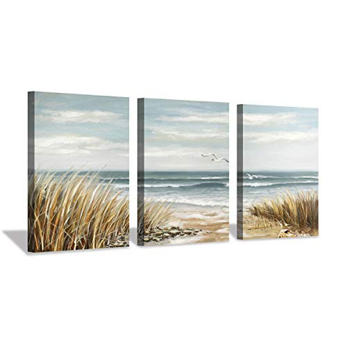 "Hardy Gallery Abstract Beach Picture Wall Art: Coastal Grass Seascape Artwork Print on Canvas for Walls (12""x16""x3pcs)"