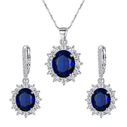 EVER FAITH Mujer Plata de Ley 925 Zirconia Elegante Flor Colgante Collar Pendientes Conjunto Color Zafiro