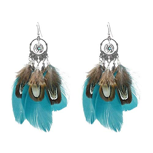 New Dream Catcher Earrings European and American Fashion Colorful Peacock Feather Pendant Retro Ethnic Female Earrings-Blue
