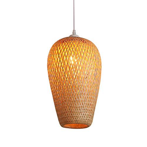 Lámpara colgante retro madera Luz colgante vintage bambú para tejer Luces colgante con pantalla de lámpara ajustable en altura E27 Lámpara de ratán para comedor Mesa de comedor Lámpara de madera